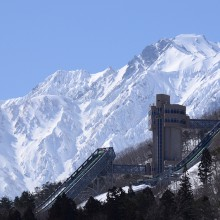 五竜岳と白馬ジャンプ競技場