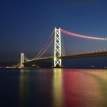 明石海峡大橋の夕暮れ