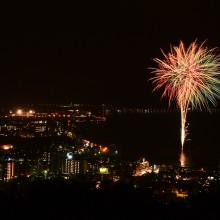 岡谷市とうろう流し花火まつりの花火とサマーナイトファイヤーフェスティバルの花火@諏訪市立石公園